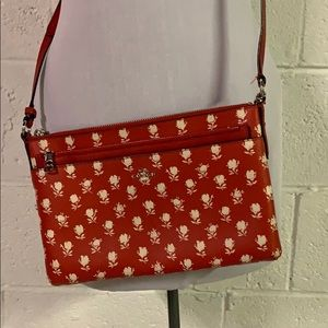 Rare! Authentic Red Coach bag w/ white roses